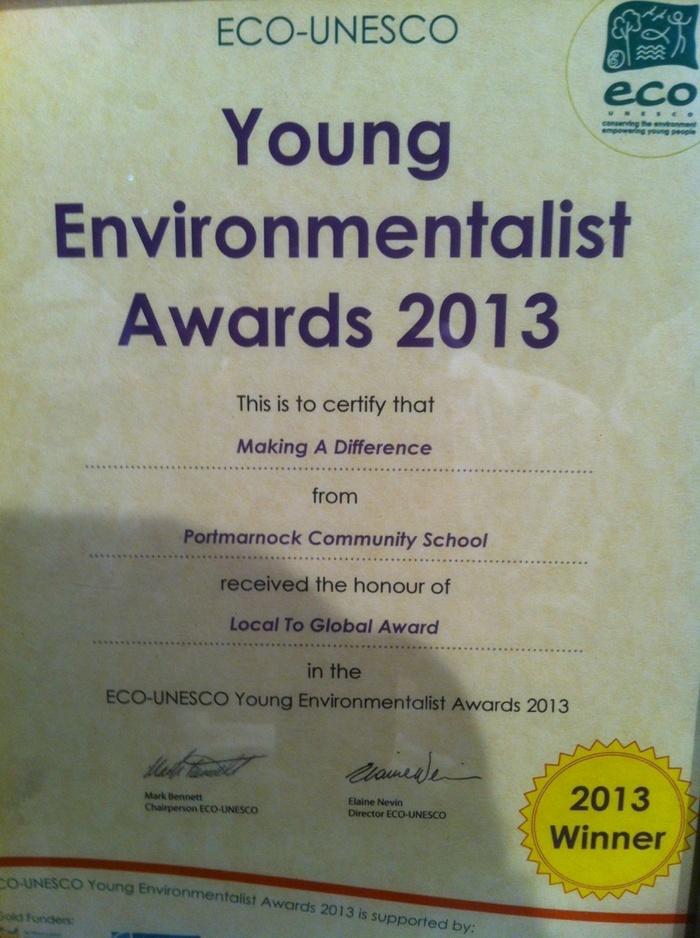 The Green Flag, Graduation, Eco-Unesco Award, Paul Reid
