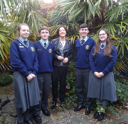 Pictured:Head Girl: Orla Burke, Head Boy: Peter O'Brien, Ms Norris, Dep. Head Boy Ross Oglesby and Dep. Head Girl Maedbh Donnelly